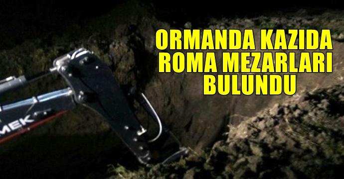 Kazı yaparken Roma mezarları bulundu