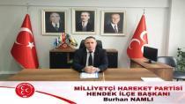 MHP İlçe Başkanı Namlı'dan 19 Mayıs Mesajı